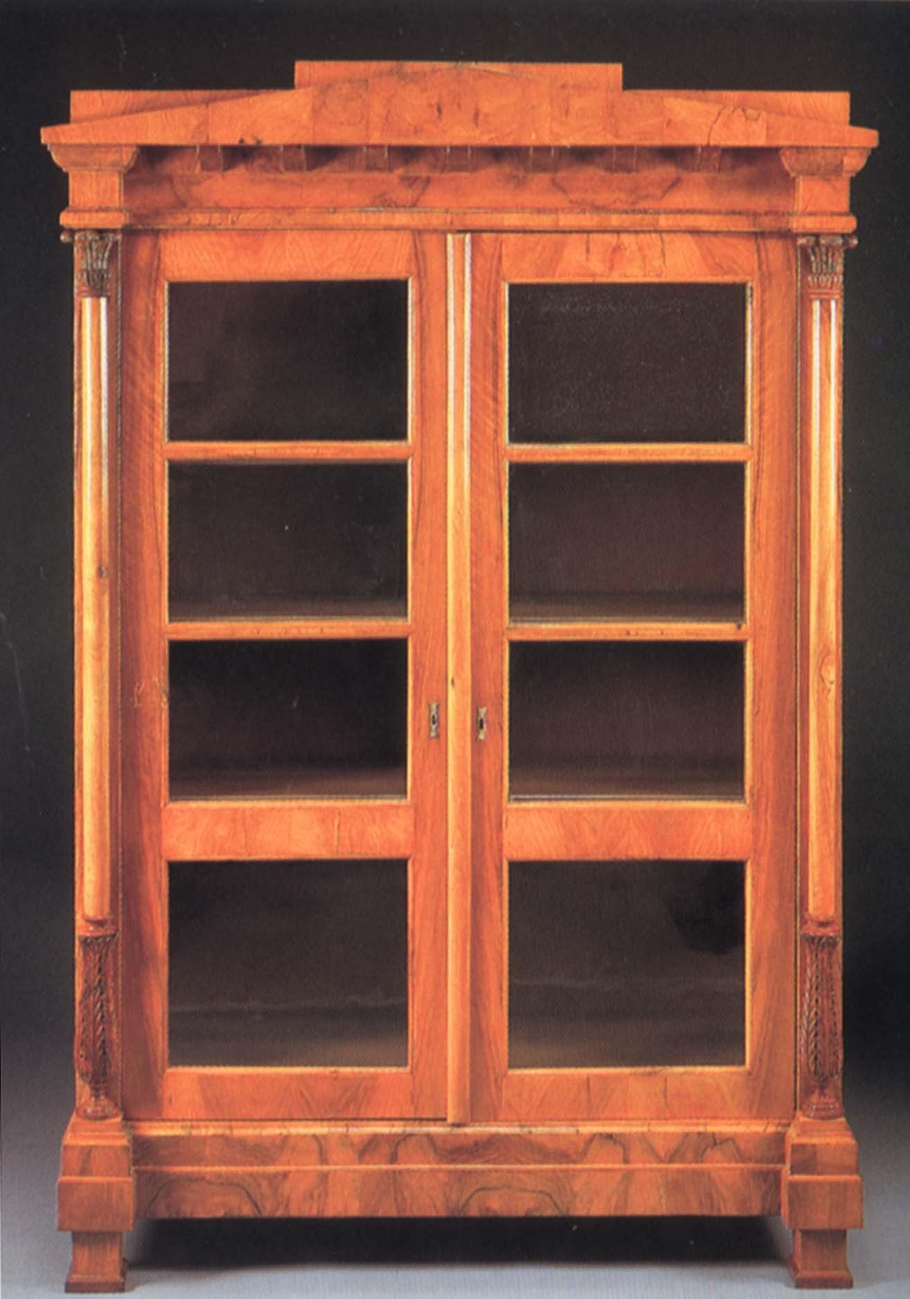 19th Century Austrian Biedermeier Black Walnut Bookcase